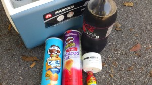Pringles (fuel), Coke Zero (rocket fuel) and some chamois creme. What could possibly go wrong?